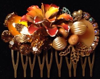 Topaz and orange vintage hair comb