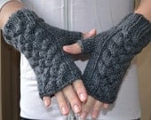 Dark gray wrist warmers