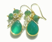 Green Onyx Gemstone Earrings 22K Bezel Setting w Green Palace Opal & Clear Swarovski Crystals