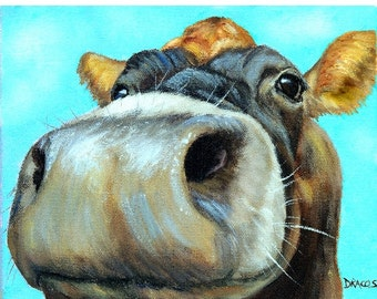 Curious Jersey Cow Art Print, Very Curious Cow on Light Blue, Painting by Dottie Dracos
