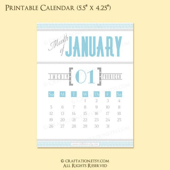 Typography Printable Calendar : Modern retro printable monthly calendar typography