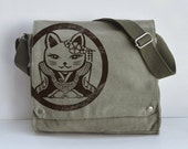 Kawaii Kitty Canvas Messenger Bag (KHAKI GREEN)
