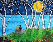 Cats full moon birch trees Ocean Print Shelagh Duffett