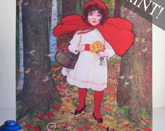 Vintage Personalized Art - Little Red Riding Hood - PANEL PRINT -Girl's Vintage Wall Decor, Baby Shower, Ready to Hang