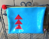 Mod Glitter Vinyl Zippered Project Pouch: Aqua & Red Triangles and Blocks