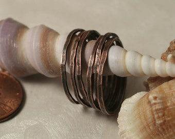 Hand hammered antique copper midi ring, knuckle ring, stack rings (item ID ACSR)