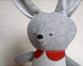 Bella Bunny - Plush Rabbit Doll - gray bunny with white and silver sparkle polka dot print dress