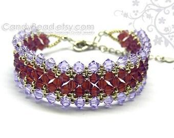 Swarovski bracelet, Purple and Cyclamen Opal crystal bracelet by CandyBead