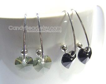 Swarovski earrings;crystal earrings;Swarovski Crystal Earrings, Genuine Swarovski Black Series on Long Ear Hooks - You Choose Color