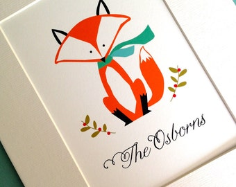 Matted art print... personalized christmas fox