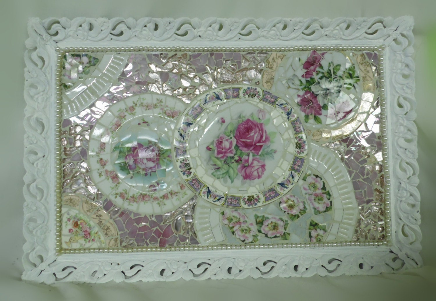 pink roses broken china shabby chic mosaic cottage large. Black Bedroom Furniture Sets. Home Design Ideas