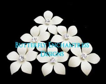 Ivory Headpiece, Wedding Hair Accessories, Bridal Hair Flowers - 6 Ivory Harper Jasmine Flower Hair Pins - Rhinestone Center