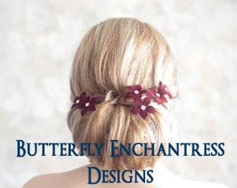 Wine Red Wedding, Bridal Hair Flowers, Wedding Hair Piece - 6 Burgundy Harper Jasmine Flower Hair Pins - Rhinestone Centers