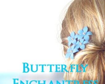 Something Blue, Wedding Hair Accessories, Bridal Hair Flowers - 6 Sky Blue Harper Jasmine Flower Hair Pins - Rhinestone
