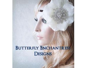 Boho Headband, Bridal Hair Flower Crown Head Wrap, Wedding Hair Accessory, Flower Headpiece Halo - Pale Ivory Autumn Rose Bohemian Headband
