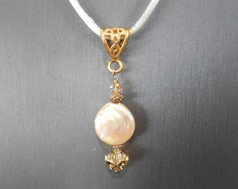 Champagne Coin Pearl  Necklace