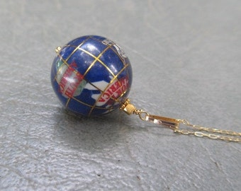 Lapis Globe World  Pendant Necklace