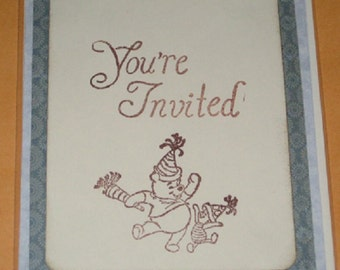 You're Invited Greeting Card with Pooh and Piglet  Party Invite