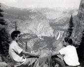 vintage photo Unusual YOung Men in Mts Sit Looking at Each other w Nevada Falls in Yosemite distance