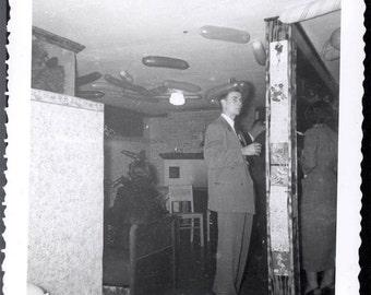 Vintage Snapshot 1950s Mid Century PArty Man w Balloon on Head Balloon ceiling