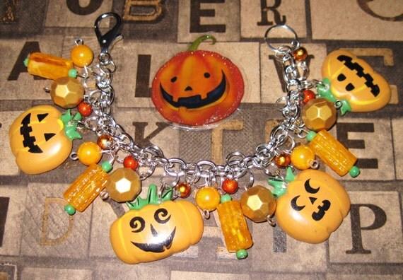Halloween Charm Bracelet Jack o' Lantern Charm Bracelet Pumpkin Jewelry Pumpkin Bracelet JOL's Halloween Bracelet Statement Piece Fun Chunky