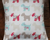 """16"""" x 16"""" cushion cover - floral scottie dogs"""
