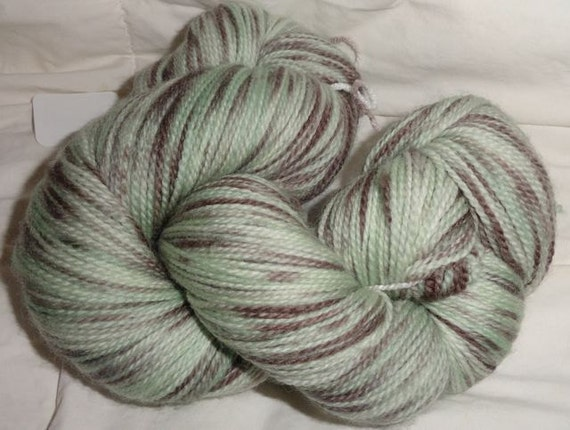 Nessie's Mint Chocolate Chip hand dyed Super Wash Sock 588 yds 4.2 oz