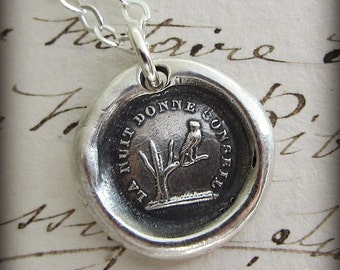 Owl Wax Seal Necklace -  The night gives counsel - Knowledge and Wisdom Wax Seal Necklace - FP340