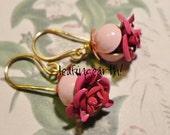 little pink rosebuds enamel flower earrings