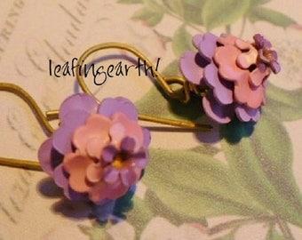 shades of pink and lavender enamel flower earrings LANTANA