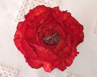 French Rusty Marigold Ombré Ribbon Peony Pin with Antique Metal Lace Covered Velvet Center