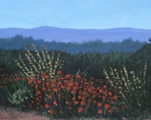 Original Landscape Painting on Canvas by Gene Foust Red and Yellow Wildflowers, 18 X 24