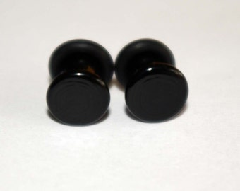 4g Black glass EAR plugs BODY JEWELRY 5mm handmade new 4 gauge