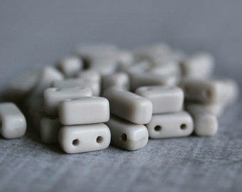 Ashen Gray Matte CzechMates Czech Glass Bead 6mm Two Hole Brick : 50 pc