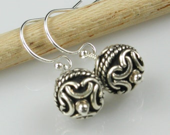 Sterling Silver Bali Beads Drop Earrings