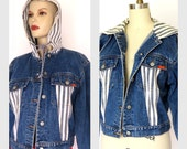 Vintage Denim Jacket/ 80s JORDACHE Blue/White Stripe Hoodie Cropped Jacket Sz L