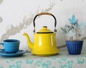 Vintage Yellow Enamel Teapot ~ Mid Century Japan
