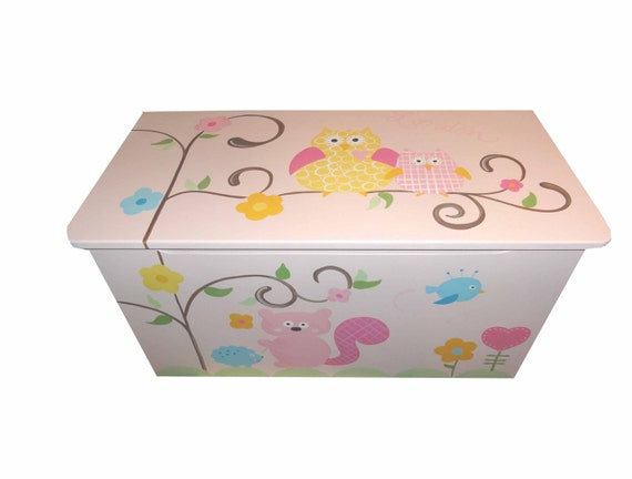 Childrens wooden toy box - Hooo loves pink chunky monkey owls