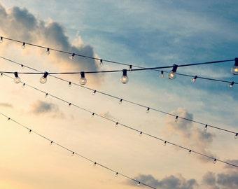 String Lights Photo, Whimsical Photo, Baby Blue Art, Blue Sky Wall Art, Nursery Wall Art, Clouds Photograph, Dreamy Photograph, Pastel Photo