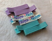 EASTER BLUE PURPLE  Set of 6 non-slip Fully Lined alligator clip / clippies barrettes Buy 3 sets get 1 free