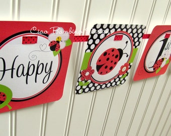 Ladybug Happy Birthday Banner / Personalized with Name and Age / Classic Ladybug in Red and Black