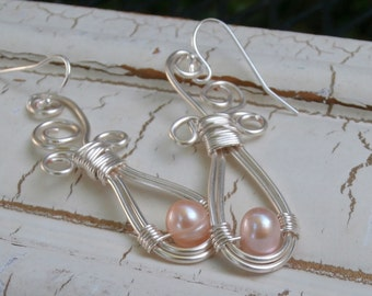 Bridal Jewelry, Peach Pearl Dangle Earrings, Silver Dangles, Wire Wrapped Jewelry for Peach Wedding, Freshwater Beauty