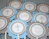 Boys Baptism CHEVRON Cupcake Toppers / Chevron Cupcake Toppers / Cross Cupcake Toppers / First Communion / Baby Dedication / Baptism Toppers