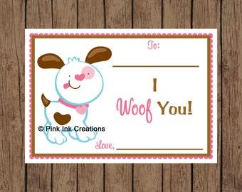 Printable Valentine PUPPY Kids Valentine Card - Instant Download - I Woof You