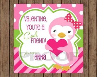 PENGUIN Valentine Favor Tags / Penguin Favor Tags / Valentine Favor Tags / Too Cool Valentine Tags / Valentine Tags / PRINTABLE / Set of 12