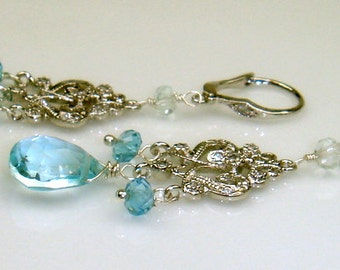 London Blue Topaz and Light Blue Topaz Chandelier Earrings