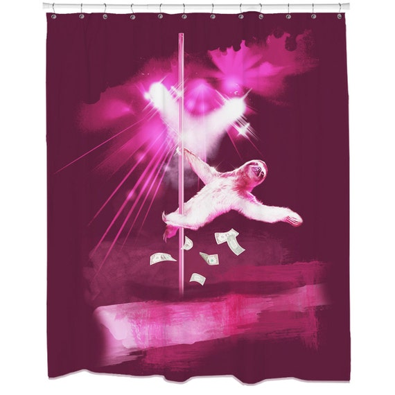 Stripper sloth shower curtain hooks included for Sloth kong shower curtain