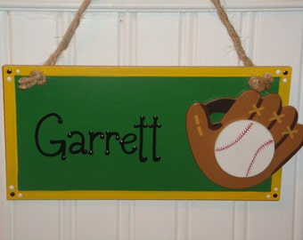 Personalized Wood Door/Wall Name Sign for Kids-Boys and Girls-Sports Soccerball, Football, Basketball, Baseball, YOU CHOOSE