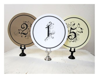 Round Table Numbers - Wedding Table Cards - Rustic Wedding Table Numbers - Table Number Signs