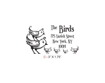 Birdies Family Return Address Custom Rubber Stamp Birdie C
